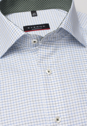 ETERNA LONG SLEEVE SHIRT MODERN FIT PINPOINT LIGHT BLUE / KHAKI CHECKED