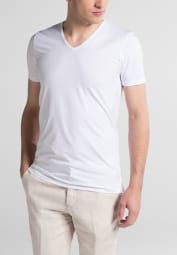 ETERNA BODYSHIRT WITH EXTENDEND V-NECK WHITE UNI