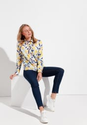 ETERNA LONG SLEEVE BLOUSE MODERN CLASSIC WHITE / COLORFUL PRINTED