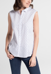 ETERNA WITHOUT SLEEVES BLOUSE MODERN CLASSIC BLUE/WHITE PRINTED