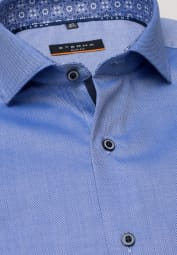 ETERNA LONG SLEEVE SHIRT SLIM FIT NATTÉ BLUE STRUCTURED