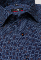 ETERNA LONG SLEEVE SHIRT MODERN FIT TWILL NAVY / RUST RED PRINTED