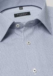 ETERNA LONG SLEEVE SHIRT COMFORT FIT TEXTURED WEAVE BLUE/WHITE CHECKED