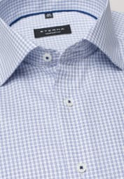 ETERNA LONG SLEEVE SHIRT COMFORT FIT PINPOINT BLUE CHECKED