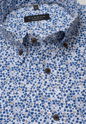 ETERNA HALF SLEEVE SHIRT COMFORT FIT POPELINE BLUE PRINTED