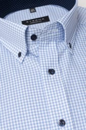 ETERNA LONG SLEEVE SHIRT COMFORT FIT POPLIN BLUE CHECKED