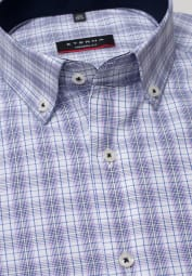 ETERNA LONG SLEEVE SHIRT MODERN FIT POPLIN BLUE / PURPLE CHECKED