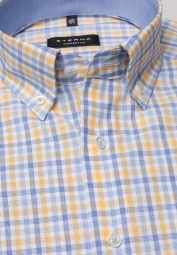 ETERNA LONG SLEEVE SHIRT COMFORT FIT POPLIN LIGHT BLUE / YELLOW CHECKED