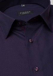 ETERNA LONG SLEEVE SHIRT COMFORT FIT TEXTURED WEAVE AUBERGINE PATTERNED