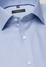 ETERNA LONG SLEEVE SHIRT COMFORT FIT TWILL BLUE STRUCTURED