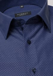 ETERNA LONG SLEEVE SHIRT COMFORT FIT TEXTURED WEAVE BLUE PATTERNED