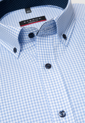 ETERNA LONG SLEEVE SHIRT MODERN FIT POPLIN BLUE CHECKED