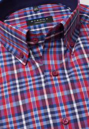 ETERNA HALF SLEEVE SHIRT COMFORT FIT POPLIN BLUE / RED / WHITE CHECKED