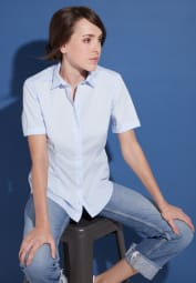 ETERNA HALF SLEEVE BLOUSE MODERN CLASSIC POPLIN LIGHT BLUE UNI