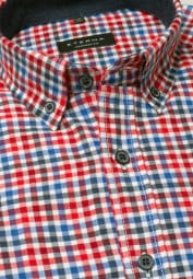 ETERNA LONG SLEEVE SHIRT COMFORT FIT FLANEL RED/BLUE CHECKED