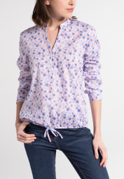 ETERNA LONG SLEEVE BLOUSE MODERN CLASSIC POPLIN BLUE PRINTED