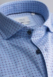 ETERNA LONG SLEEVE SHIRT SLIM FIT SOFT TAILORING TWILL LIGHT BLUE PRINTED