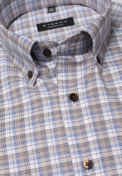 ETERNA LONG SLEEVE SHIRT COMFORT FIT TWILL BEIGE / LIGHT BLUE CHECKED