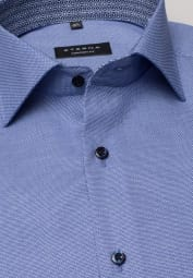 ETERNA HALF SLEEVE SHIRT COMFORT FIT BLUE STRUCTURED