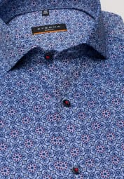 ETERNA LONG SLEEVE SHIRT SLIM FIT OXFORD BLUE/RED PRINTED