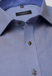 ETERNA LONG SLEEVE SHIRT COMFORT FIT NATTÉ BLUE STRUCTURED
