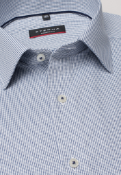 ETERNA LONG SLEEVE SHIRT MODERN FIT TEXTURED WEAVE BLUE/WHITE CHECKED