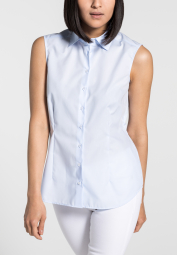 ETERNA WITHOUT SLEEVES BLOUSE MODERN CLASSIC POPLIN LIGHT BLUE UNI