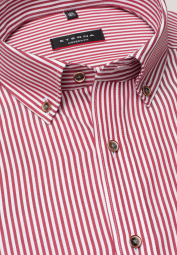 ETERNA LONG SLEEVE SHIRT MODERN FIT TWILL RED STRIPED