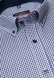 ETERNA LONG SLEEVE SHIRT MODERN FIT POPLIN NAVY / WHITE CHECKED