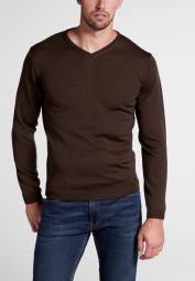 ETERNA KNIT SWEATER WITH V-NECK BROWN UNI