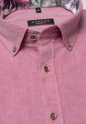ETERNA HALF SLEEVE SHIRT MODERN FIT LINEN RASPBERRY UNI