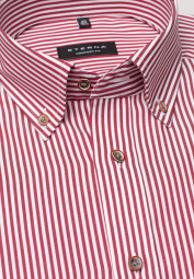 ETERNA LONG SLEEVE SHIRT COMFORT FIT TWILL RED STRIPED