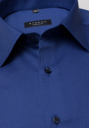 ETERNA LONG SLEEVE SHIRT COMFORT FIT FANCY WEAVE BLUE STRUCTURED