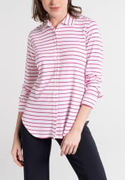 ETERNA LONG SLEEVE BLOUSE SLIM FIT JERSEY PINK / WHITE STRIPED