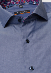 ETERNA HALF SLEEVE SHIRT SLIM FIT CHAMBRAY JEANS BLUE UNI
