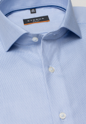 ETERNA LONG SLEEVE SHIRT SLIM FIT TWILL BLUE STRUCTURED