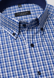 ETERNA HALF SLEEVE SHIRT COMFORT FIT POPLIN BLUE/WHITE CHECKED