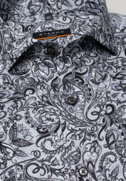 ETERNA LONG SLEEVE SHIRT SLIM FIT SATIN WEAVE SILVER GRAY PRINTED