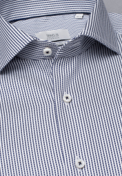 ETERNA LONG SLEEVE SHIRT MODERN FIT NAVY / WHITE STRIPED