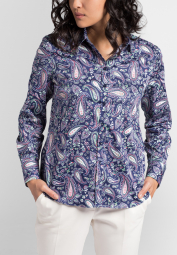 ETERNA LONG SLEEVE BLOUSE MODERN CLASSIC NAVY / COLORFUL PRINTED