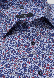 ETERNA LONG SLEEVE SHIRT COMFORT FIT POPLIN BLUE/RED PRINTED