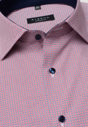 ETERNA HALF SLEEVE SHIRT COMFORT FIT POPLIN RED PRINTED