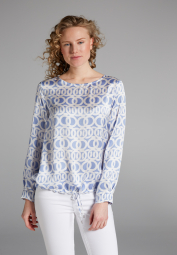 LONG SLEEVE BLOUSE 1863 BY ETERNA - PREMIUM LIGHT BLUE / WHITE PRINTED