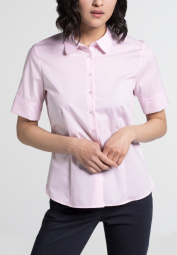 ETERNA HALF SLEEVE BLOUSE MODERN CLASSIC STRETCH ROSE / WHITE STRIPED