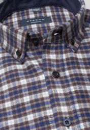 ETERNA LONG SLEEVE SHIRT MODERN FIT FLANEL BROWN/BLACK CHECKED