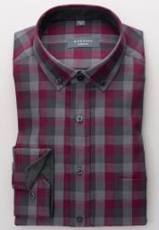 ETERNA LONG SLEEVE SHIRT MODERN FIT FLANEL BURGUNDY / GRAY CHECKED