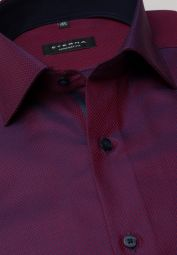 ETERNA LONG SLEEVE SHIRT COMFORT FIT FANCY WEAVE BURGUNDY STRUCTURED
