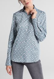 ETERNA LONG SLEEVE BLOUSE MODERN CLASSIC PETROL / BLUE / WHITE PRINTED