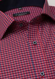 ETERNA LONG SLEEVE SHIRT MODERN FIT POPLIN BLUE/RED CHECKED