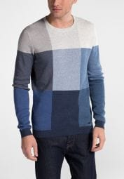 ETERNA KNIT SWEATER WITH ROUND NECK BLUE PATTERNED